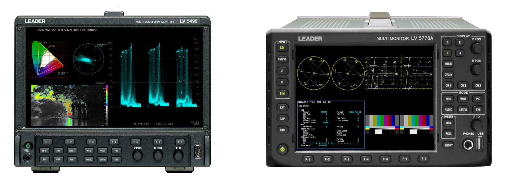 Available to buy Leader LV5490 Multi Waveform Monitors and LV5770A 3G/HD/SD Multi Monitors